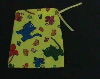 Bright Colored Cat Mouse Cheese Yellow Drawstring Pouch