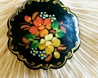 Vintage Russian Black Lacquer Hand Painted Artist Signed Brooch Pin