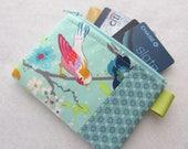 Gigi Blooms Tweets Bird Branch Fabric Business Card Case Coin Purse Zipper Credit Card Case Card Holder Wallet Red Orange Bird Aqua Mint