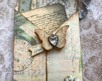 Tag pocket filled with 12 vintage inspired tags / ephemera