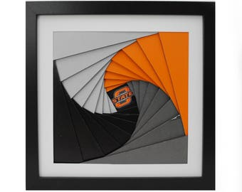 OSU pinwheel shadowbox- made from recycled magazines, white, orange, grey, black, spiral, modern, colorful, handmade, interior design
