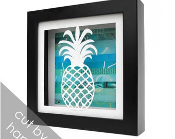 small PINEAPPLE shadowbox- made from recycled magazines, papercut, beach, summer, waves, blue, teal, fruit, beach house decorations, modern
