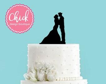 Navy Sailor Couple Acrylic Wedding Cake Topper
