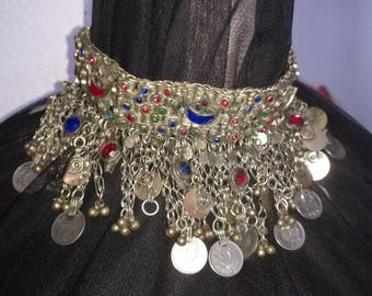 Vintage Belly Dance Collar Necklace~Woven Metal~Lots of coins~Choker~Sacred Dance ~Ritual Dance