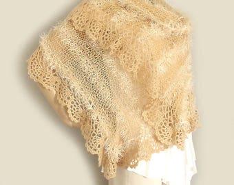 Knit shawl, Lace crochet shawl, Knit crochet stole, Loose knit scarf, Prayer shawl, Boho shawl, Long scarf, Wedding shawl, Summer stole
