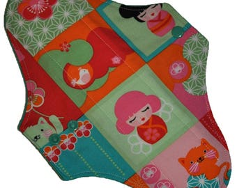 Moderate Core- Kawaii Geisha Reusable Cloth Maxi Pad- WindPro Fleece 10 Inches (25.5 cm)