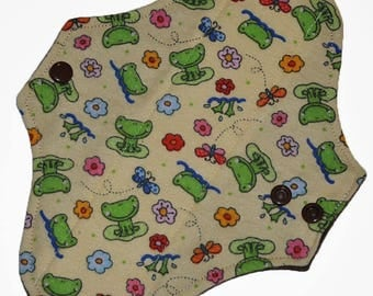 Light Core- Frog Flannel Reusable Cloth Pantyliner Pad- Flannel Backed- 8.5 Inches