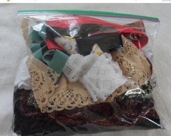 Bag of Vintage Fabrics and Trims/Crazy Quilting Embellishments/Old Laces/Vintage Embroidered Trims/Gross Grain Ribbon/Velveteen Ribbon/Trims