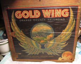 Vintage Original GOLD WING Orange County Fullerton Box CRATE End Label valencias primitive country chippy cottage potting shed wall decor
