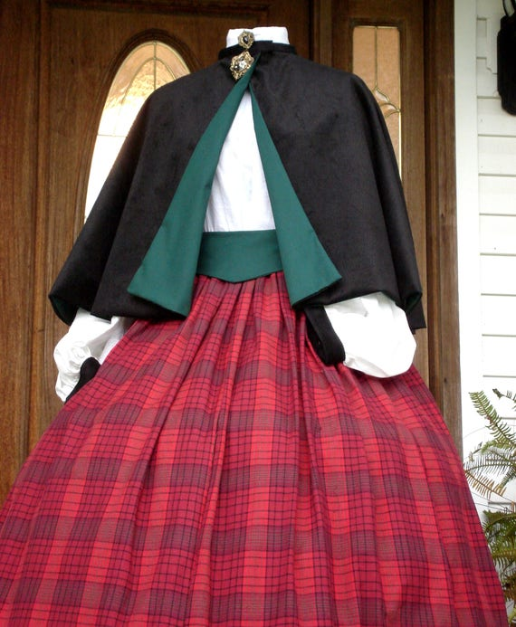 Victorian Dickens Christmas Carolers Holiday Dress Costume, Seven Peice Set, Skirt, Cape, Blouse, Sash, Hoop,Bonnet,petticoat, custom made