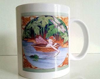 Ceramic Cup Coffee Mug 11oz FAIRY RIVER RIDE Lynne French Art
