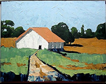 Impressionist Painting CALIFORNIA Plein Air Farm Barn Field Landscape Art 18 x 24 Lynne French