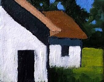 Miniature Impressionist Oil Painting 4x4 Plein Air California Farm BARNS Landscape Lynne French Art