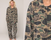 Camo Jumpsuit Army Coveralls Military Jumpsuit Camouflage Print 80s Hunting Grunge Pantsuit Vintage Long Sleeve Green Extra Large xl xxl 2xl