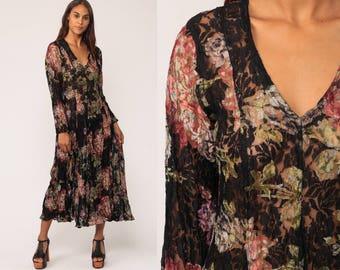 Long LACE Dress Sheer 90s Maxi Grunge Black Floral Print Boho 1990s Vintage Bohemian Long Sleeve Ankle Length Deep V Medium Large