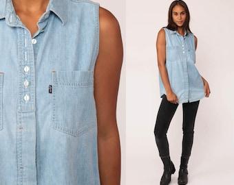 Levis Denim Shirt 80s Blue Sleeveless Button Up Jean Levi Denim Top 1980s Grunge Vintage Hipster Women Blue normcore Medium