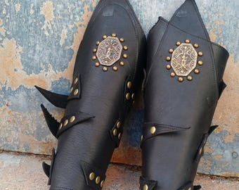 Primitive Oiled Black Leather Peaked Bracers with Antiqued Brass Odin & Spots