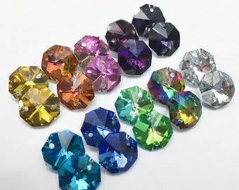 100- 14mm crystals - 2-hole Iridescent Sparkly  Collection