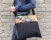 Handcrafted bag, eco friendly handbag, vegan bag, recycled handbag, messenger bag, unique handbag, fabric bag, vegan bag