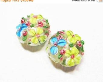 20% OFF LOOSE Beads - Lampwork Glass Art Beads - Chartreuse Green, Aqua Blue, Pink, and Spring Green Fancy Flower Lentils (2 beads) - gla944