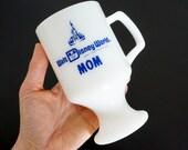 Vintage Walt Disney World Mom Milk Glass Mug VGC Pedestal Base Blue White, Souvenir Glass Collectible Mothers Day Gift