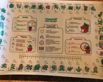 "Vintage Tupperware TUPPERCRAFT 30""x20"" PLANT CARE Sheet, Clean, Great Gift!,  Made in U S A 1977 at A Vintage Revolution"
