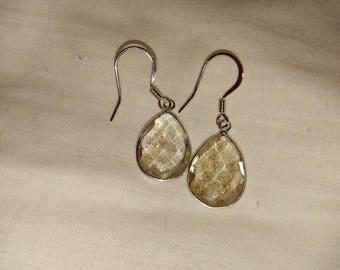 Copper Infused Bezel Sterling-Plated Drop Earrings