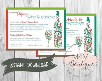 INSTANT DOWNLOAD • Wine INVITATION • Digital Template, Print at Home, Editable Jpg Pdf Psd Image Files
