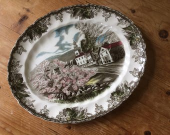 Johnson Brothers, Oval Platter, Oval Plate, The Friendly Village, The Village Green, English Transferware, Spring Scene, Country Church