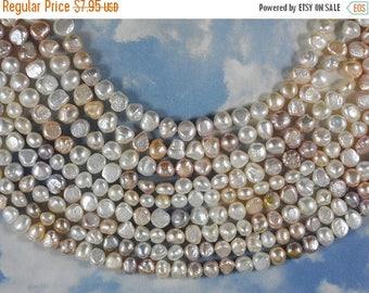 """ON SALE Pearls Potato Baroque White Champagne Cultured 16"""" strand (4212)"""