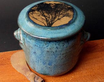 Stoneware French Butter Crock With Clay Knife ~ Classic Tree Design ~