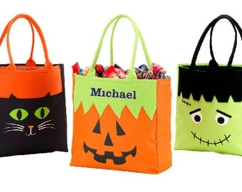 halloween bag trick or treat bag personalized halloween candy bag kids trick or - Halloween Handbag