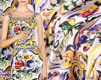 New Hot Sale Sicily Digital Painting Mulberry Crepe DE Chine Natural Silk Fabric for Dress Tissus au Meter Seda Cloth DIY