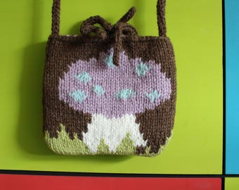 Hand knitted chunky across body bag.