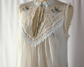 Christian Dior Nightgown. Vintage Sheer Guaze LIngerie Nightgown - Full Length Blue and Peach appliques