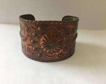 Vintage Native American Copper Horse Cuff Bracelet