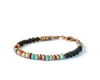 Essential Oil Diffusing Bracelet, Lava Stones, Czech Glass Seed Beads and Antique Copper, Aromatherapy Jewelry