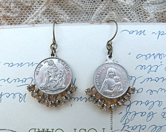 religious medal earrings assemblage rhinestone upcycle vintage