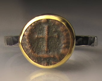 Ancient Coin Ring, Ancient Roman Coin Ring, Authentic Ancient Coin,  Ancient Cross Coin in 22K Yellow Gold and Sterling