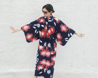 25% OFF SALE Vintage Blue & Red Japanese Kimono Novelty Print Cotton Robe
