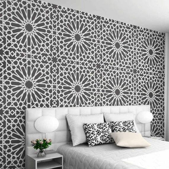 Medina tile stencil easy way to improve wall decor diy for Moroccan style wallpaper