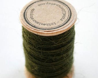 25% Off Summer Sale Burlap Twine - 30 Yards on Wooden Spool - Olive Green Color Jute
