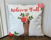 Welcome Y'all Pillow. Floral Boot Pillow. Cowboy Boot Decorative Pillow. Housewarming Gift. Farmhouse Pillow. Home Decor. House Warming.