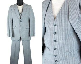 ON SALE Vintage 3 Piece Suit 32S 27x30 Blazer Vest Pants Blue Pinstripe Wool Blend 70s Free Us Shipping