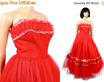 ON SALE 50s Prom Dress Sz S - Vintage Long Red Tulle Embroidered White Chiffon Hearts Strapless Wedding Formal Gown Free Us Shipping