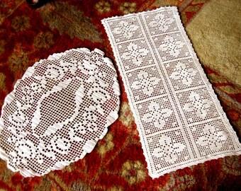 DOILY Runner Scarf Set Cotton Crochet Ecru Crocheted Lot Net Lace Pair