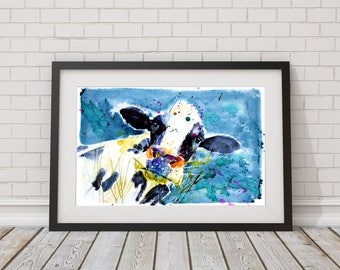 Cow art, Limited edition PRINT of  DAIRY COW Friesian, Holstein, original farm  illustration with certificate, illustration,  animal art