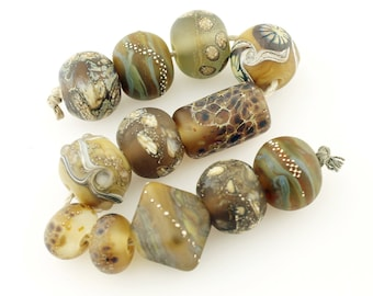 Lampwork Beads Set  Organic, Etched Matte, Brown, Green, Gray, Ivory, Silver