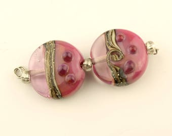SRA Glass Lampwork Bead Pair, Pink, Silver