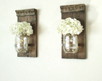 Set of 2 Hanging Mason Jar Sconces..Candle Lanterns...Rustic  Lighted Farmhouse Wall Decor. Wood Wall Decor..Mason Jar Decor..Fairy Lights